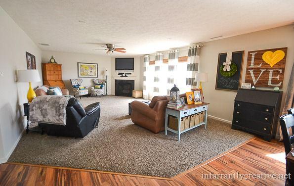 gray yellow and aqua family room
