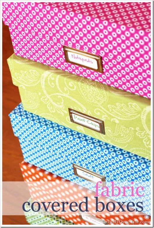 In My Own Style fabric covered boxes