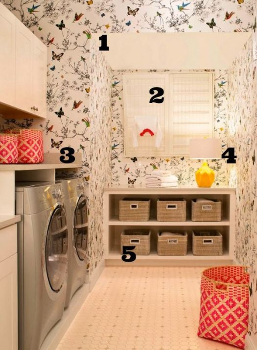 Wallpapered Laundry Room Numbered Picture