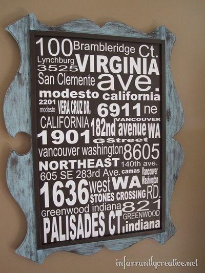 address sign subway art