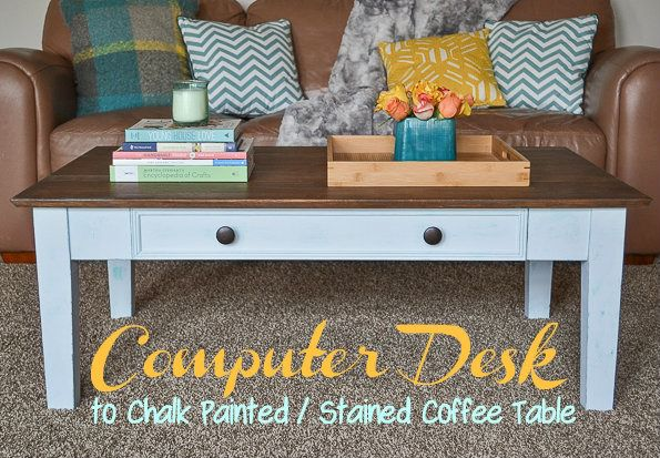 chalk painted stained coffee table