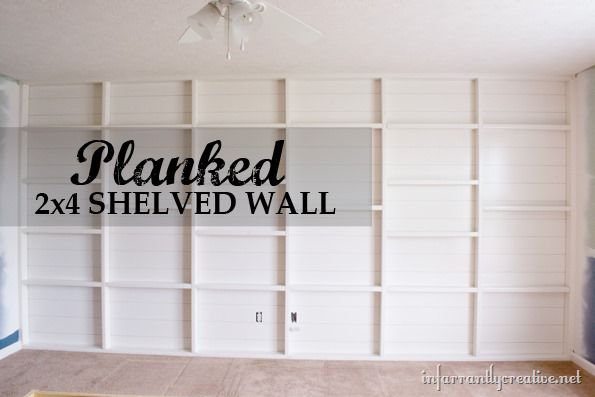 Planked and 2'x4' Shelved Feature Wall