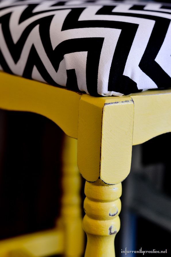Black and white chevron stool makeover