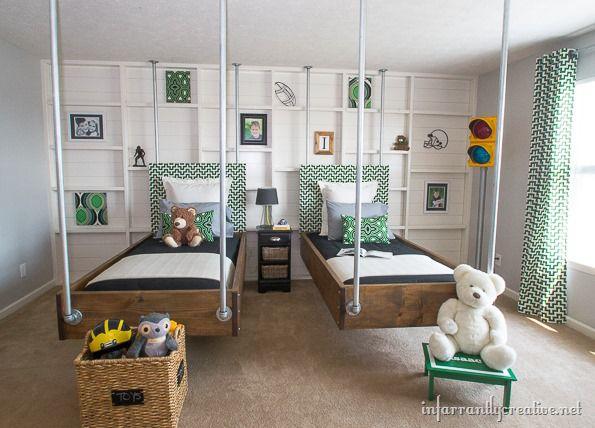 Boys Bedroom Decor: Green & Black Industrial Room Reveal