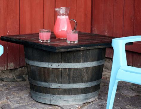 Roadkill Rescue barrel table