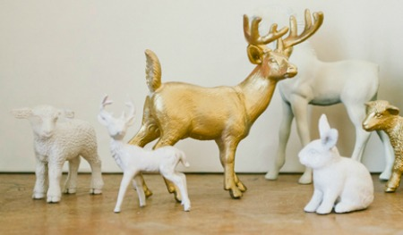Folk painted plastic animals