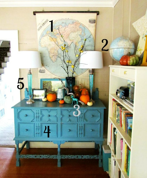 House of Turquoise Fall Vignette Inspiration Photo Numbered