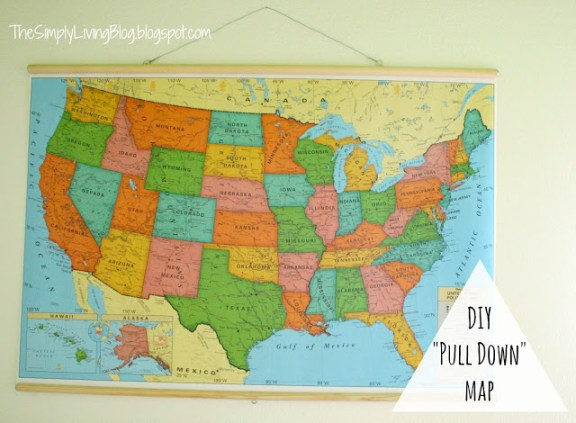 Simply Living faux pull down map