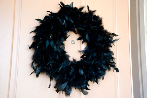 Vintage Romance feather wreath