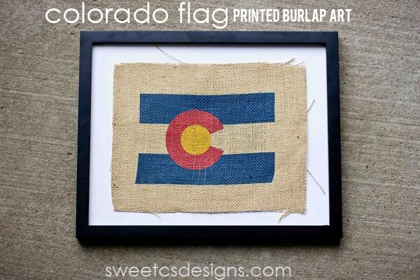 colorado flag burlap printed art - includes a free printable design!
