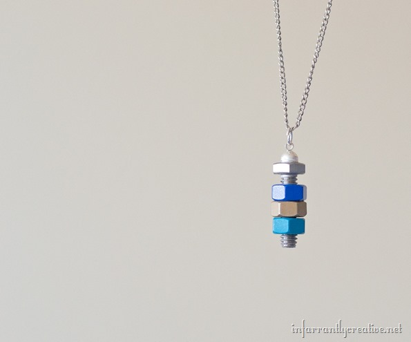 colored nuts and bolt necklace