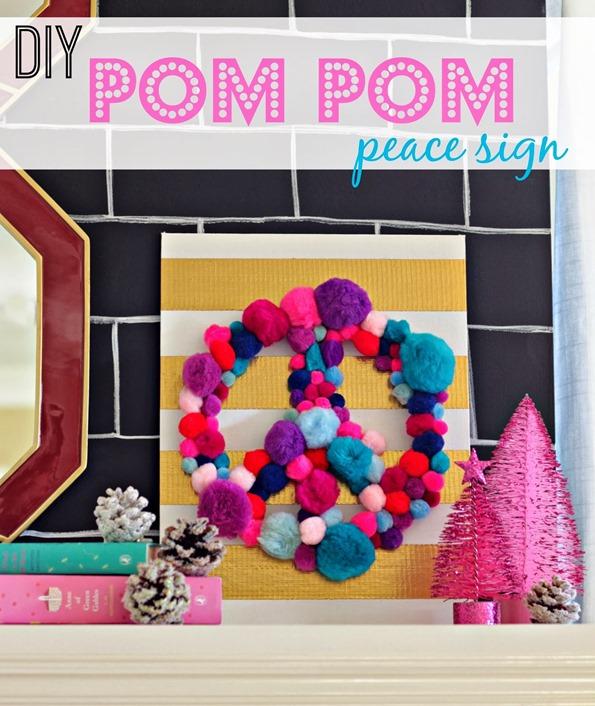diy pom pom peace sign