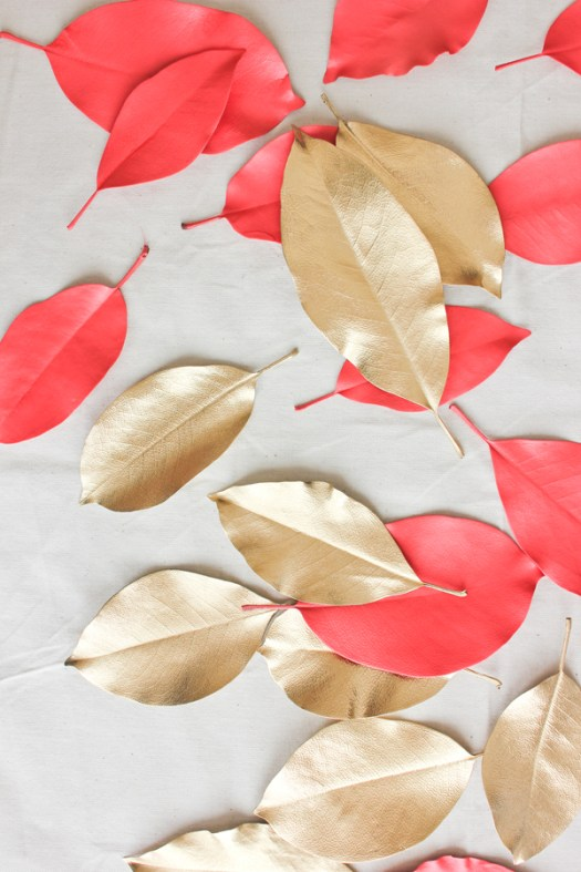 A Fabulous Fete coral gold leaves