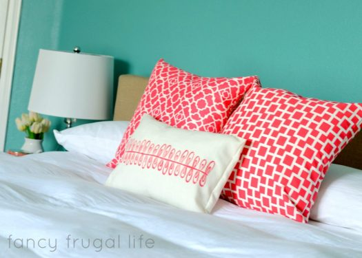 Fancy Frugal Life coral pillows
