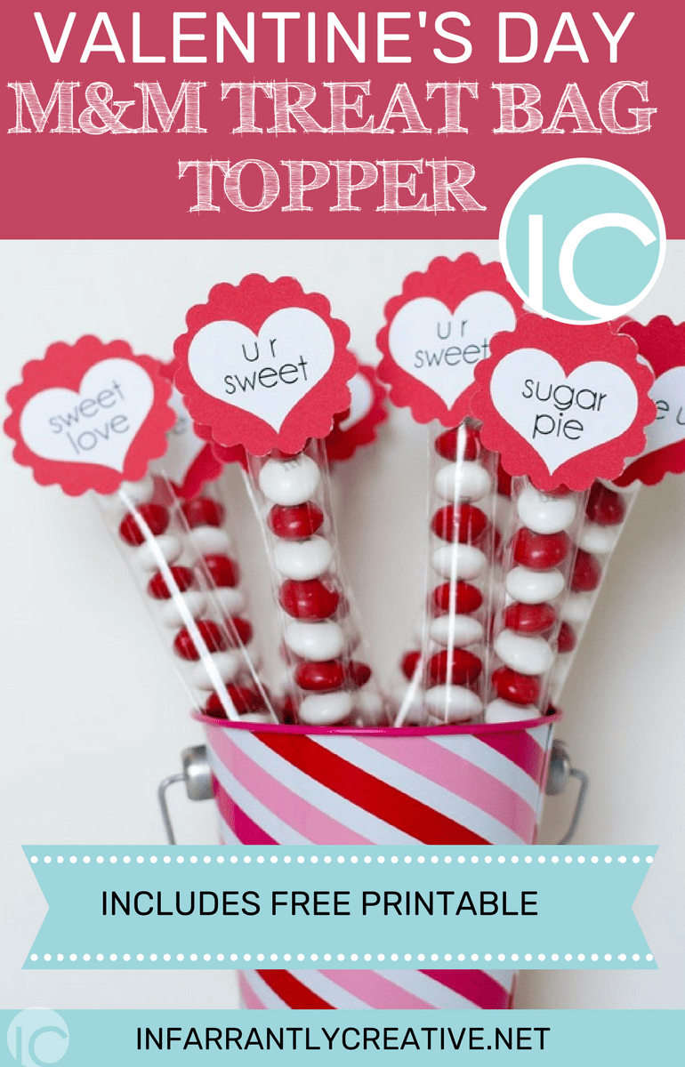 picture regarding Valentines Day Printable named Valentines Working day MM Address Bag Toppers with Totally free Printable