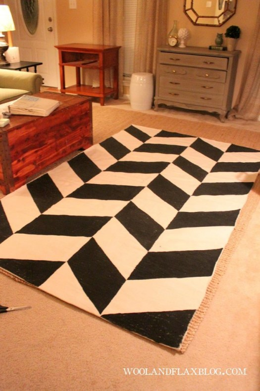 Wool and Flax diy painted black white herringbone rug