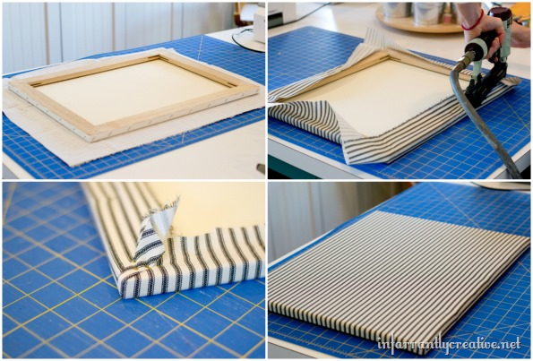 fabric covered canvas diy