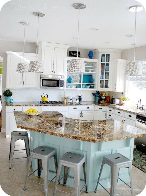 aqua-blue-kitchen-island