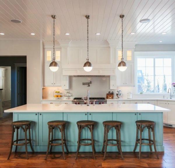 Trend blue island kitchen
