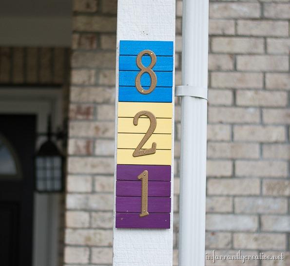 DIY paint stick address sign