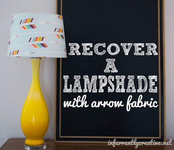 Recover a lampshade with Spoonflower arrow fabric