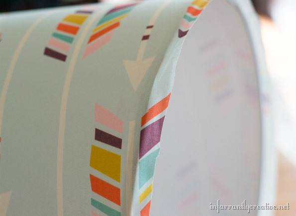 finishing a recovered lampshade