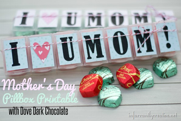 Mother's Day Gift Printable Pill Box With Chocolate