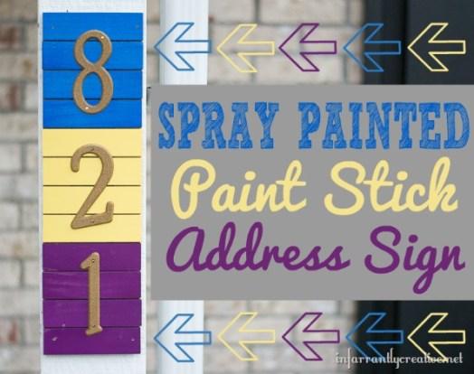 Krylon Painted Paint Stick Address Sign