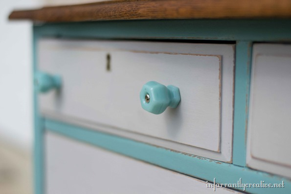 milk glass blue knobs