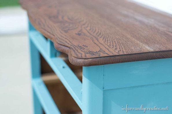 wood top dresser chalk painted bottom