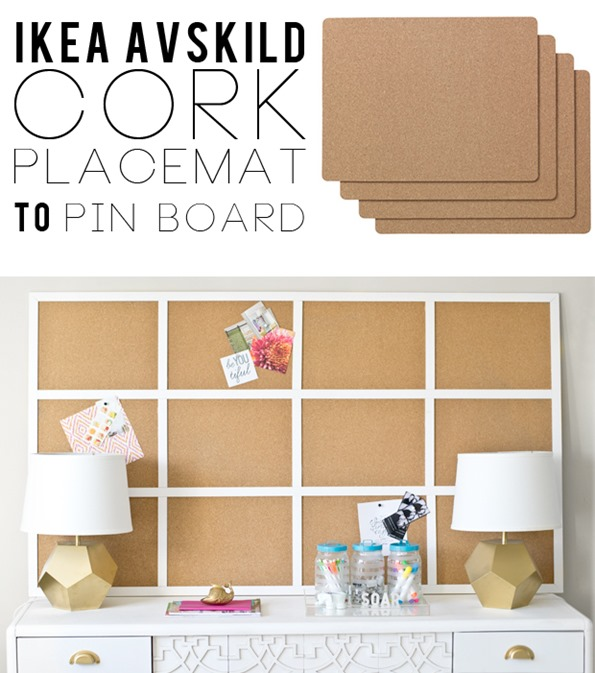 Ikea placemats to framed cork board infarrantly creative for Cadre photo mural ikea