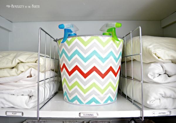 decoupaged-fabric-on-a-galvanized-bin