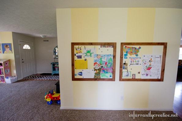 Vintage magnetic wall in playroom