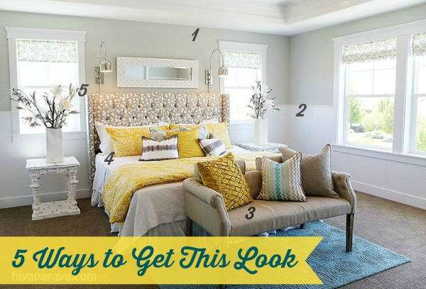 yellow and grey master bedroom 5 Ways to Get This Look: Calm Master Bedroom