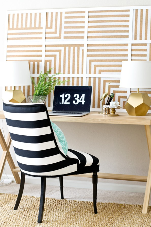 DIY striped corkboard