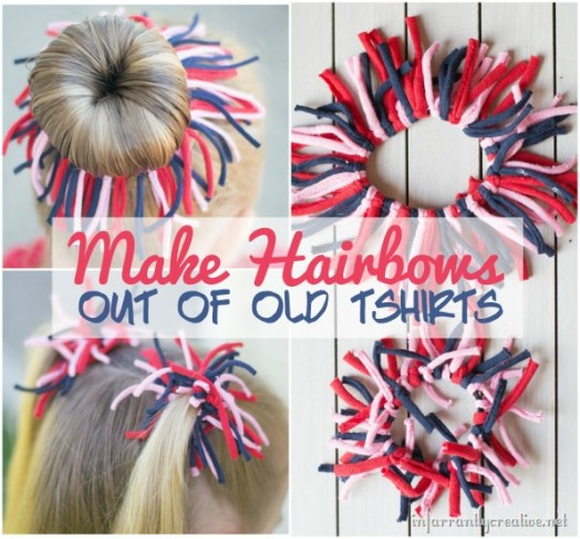 Make Hair Bows out of Old T-Shirts