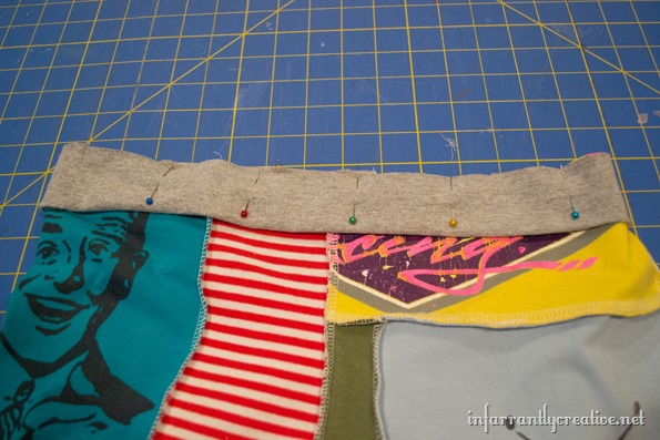 sewing the waistband of tee shirt shorts