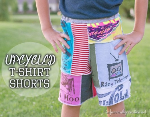Upcycled T-shirt Patch Shorts