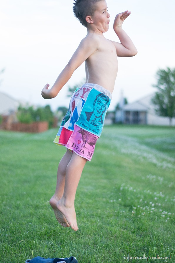 making shorts out of old tee shirts