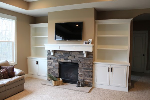 DIY fireplace built ins
