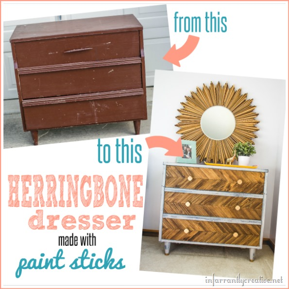 DIY Herringbone Dresser made with Paint Sticks