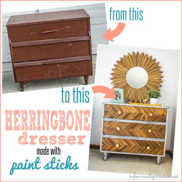DIY herringbone dresser