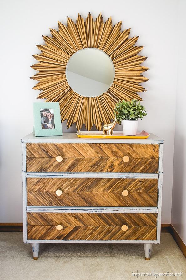 DIY herringbone pattern on dresser