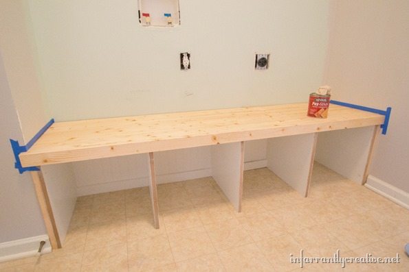 mudroom bench stained