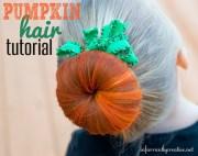 halloween hair pumpkin bun