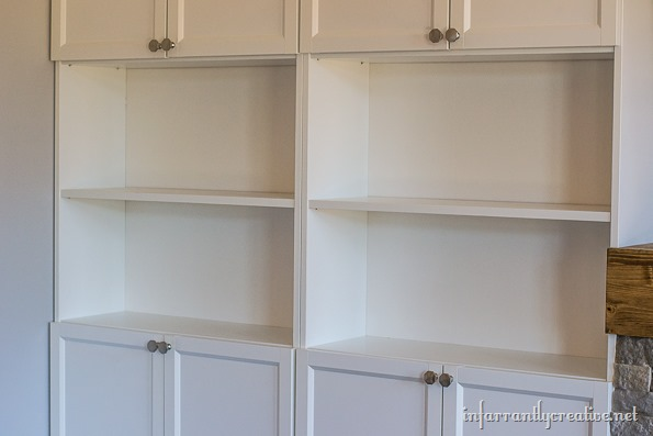 bookcases with holes filled