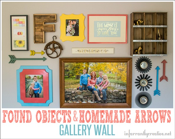 gallery wall with found objects and homemade arrows