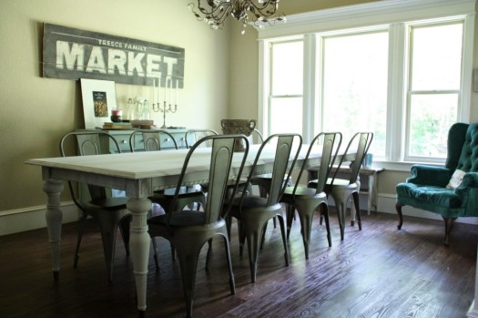 Awesome gray white long table makeover
