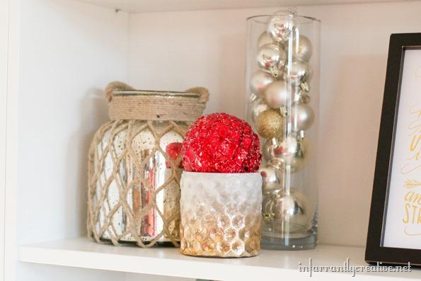 decorating shelves for Christmas