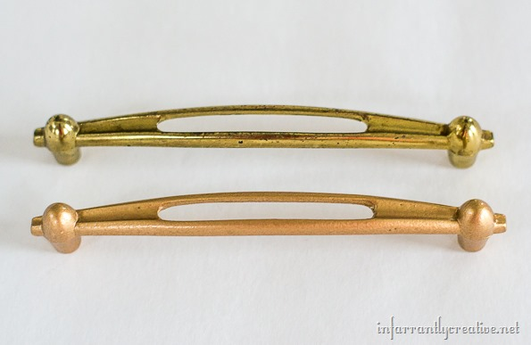 gold spray painted drawer pulls
